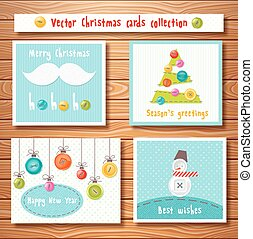 Christmas cards collection with cute buttons. Perfect for Xmas and New Year design.