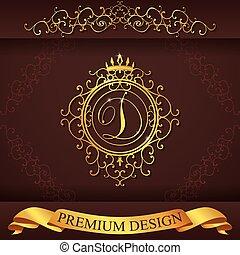 Heraldic alphabet gold premium design D - Letter D. Luxury...