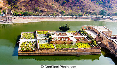 Maota lake and garden from amer fort jaipur - Maota lake and...
