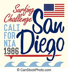 California San Diego typography, t-shirt Printing design,...