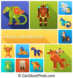 Mythical creatures icons set - Mythical creatures flat long...