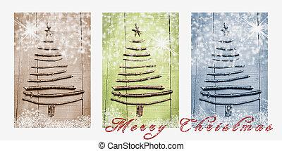palabras, alegre, navidad, escrito, en, nevoso,...