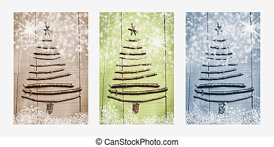 navidad, árboles, hecho, de, de madera, branches.,...