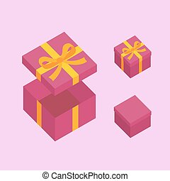 Christmas Box - Purple open box for gifts with gold bow...