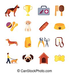 Dogs and accessories flat icons set - Pets icons set with...