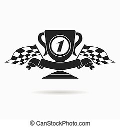 Flag icon. Checkered or racing flags first place prize cup...