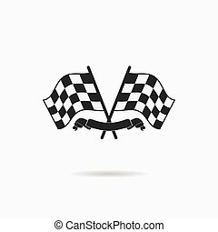 Flag icon. Checkered or racing flags and finish ribbon....