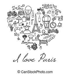Paris doodles elements Hand drawn set withefel tower bred...