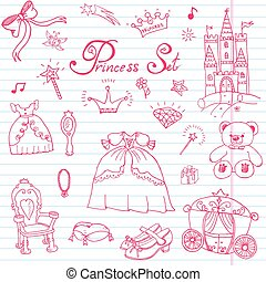 Handdrawn princess set sketch