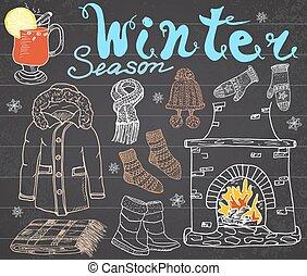 Winter season set doodles elements.