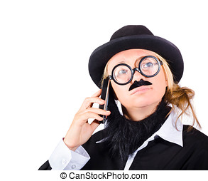 Humorous worker with mobile phone - Young woman disguised as...