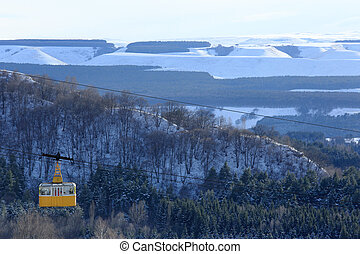 Winter view of the cableway in Kislovodsk, Northern...