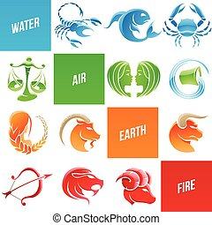 Colorful Zodiac Star Signs - Vector Illustration of Colorful...
