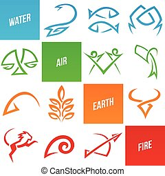 Simplistic Zodiac Star Signs - Vector Illustration of...