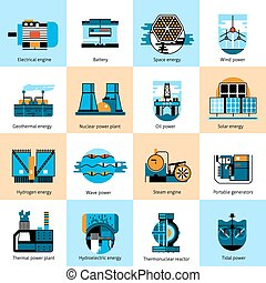 Energy production flat line icons set with gasoline and...