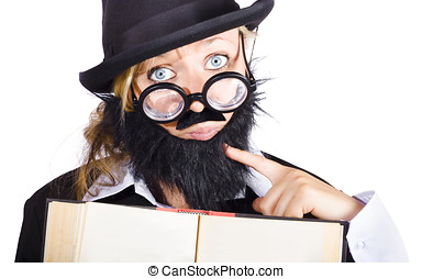 School teacher with book - Young woman disguised as male...