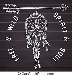 Dream catcher and arrow, tribal legend in Indian style with...