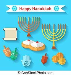 Happy Hanukkah flat vector icon set