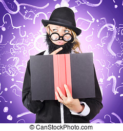 Question man reading puzzle solving book - Quirky purple...
