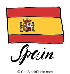 Hand drawn sketch flag of spain