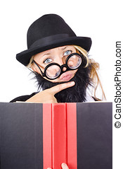 Business research and education - Thoughtful woman disguised...