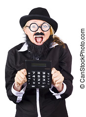 Woman with electronic calculator - Excited woman in disguise...