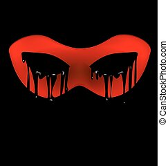 dark and red half-mask - black background and the red...