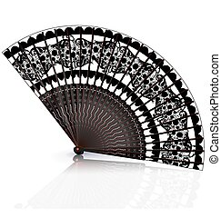 black and red fan