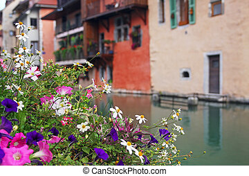 Annecy - Colourful flowers in Annecy town centre, France.