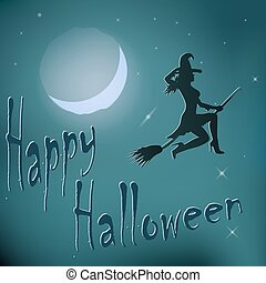 Halloween night witch riding broom.
