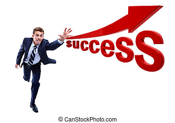 Happy running businessman Catching success