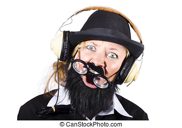 Crazy woman with headphones - Crazy woman disguised as man...
