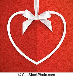 White heart shape frame hanging on silky ribbon with bow, greeting card template