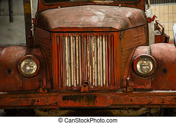 Car station. Old truck