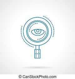 Blue flat line magnifier and eye vector icon - Search with...
