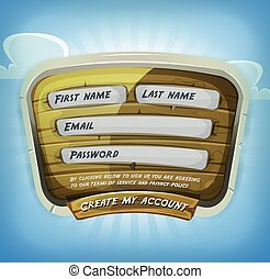 Login Form On Wood Panel For Game Ui - Illustration of a...