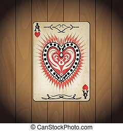 Ace hearts, poker cards old look varnished wood background