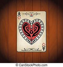 Ace hearts, poker cards old look varnished wood background.