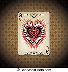 Ace hearts, poker cards old look vintage background.