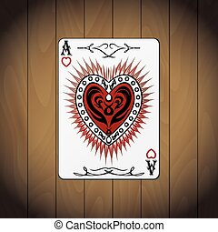 Ace hearts, poker card wood background.