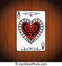 Ace hearts, poker card varnished wood background