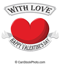 Valentine Heart with sign isolated on white background