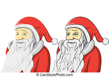 Santa Claus set isolated on white Background