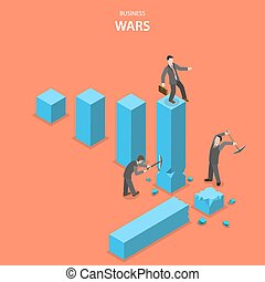 Business wars isometric flat vector concept. Man is jumping...
