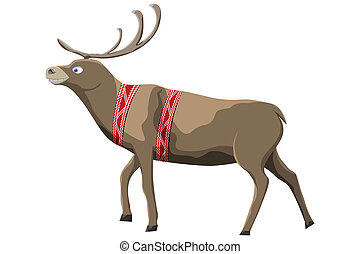 Santa Claus deer isolated on white Background