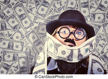 Stressed business man drowning in financial debt - Quirky...
