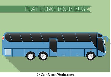 Flat design Bus, intercity icon - Flat design vector...