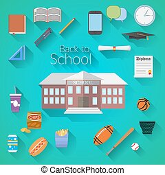 Back to School Flat design icons - Back to School Flat...