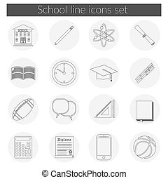Back to School line icon set - Back to School icon vector...