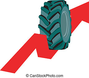 Tyre - Illustration of tyre rolling up on arrow